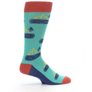 Image of Teal Blue Red Snowboarding Men's Dress Socks (side-1-24)