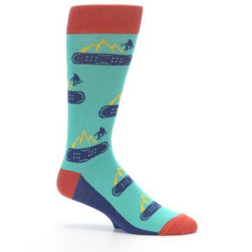 Image of Teal Blue Red Snowboarding Men's Dress Socks (side-1-25)
