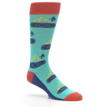 Image of Teal Blue Red Snowboarding Men's Dress Socks (side-1-26)