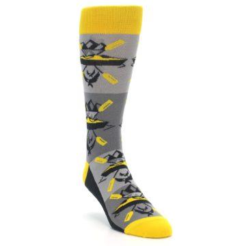 Image of Grey Yellow Kayaking Men's Dress Socks (side-1-front-02)