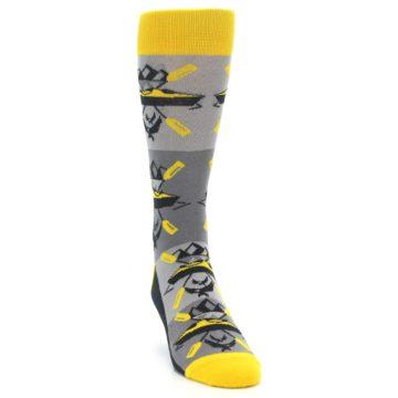 Image of Grey Yellow Kayaking Men's Dress Socks (side-1-front-03)