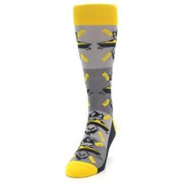 Image of Grey Yellow Kayaking Men's Dress Socks (side-2-front-06)