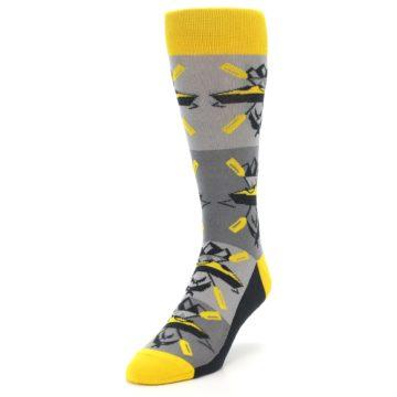Image of Grey Yellow Kayaking Men's Dress Socks (side-2-front-07)