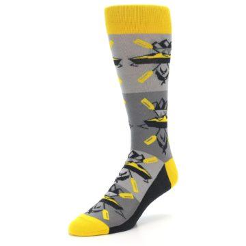 Image of Grey Yellow Kayaking Men's Dress Socks (side-2-front-08)