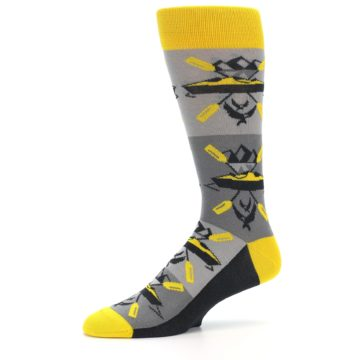 Image of Grey Yellow Kayaking Men's Dress Socks (side-2-10)