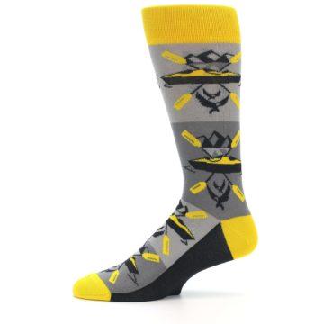 Image of Grey Yellow Kayaking Men's Dress Socks (side-2-11)