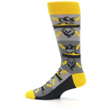 Image of Grey Yellow Kayaking Men's Dress Socks (side-2-12)