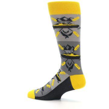 Image of Grey Yellow Kayaking Men's Dress Socks (side-2-13)