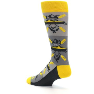 Image of Grey Yellow Kayaking Men's Dress Socks (side-2-back-14)