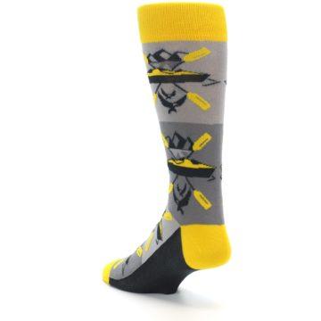 Image of Grey Yellow Kayaking Men's Dress Socks (side-2-back-15)