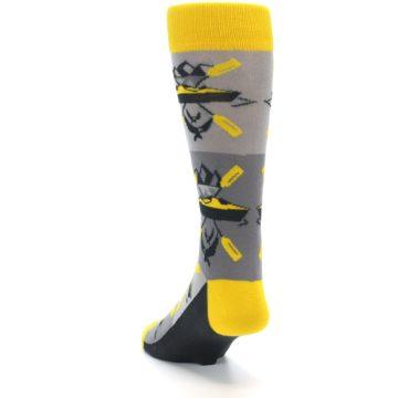 Image of Grey Yellow Kayaking Men's Dress Socks (side-2-back-16)