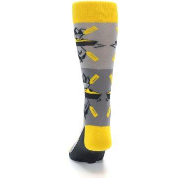 Image of Grey Yellow Kayaking Men's Dress Socks (back-17)