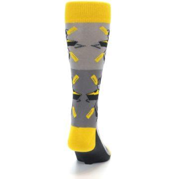 Image of Grey Yellow Kayaking Men's Dress Socks (back-19)