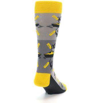 Image of Grey Yellow Kayaking Men's Dress Socks (side-1-back-20)