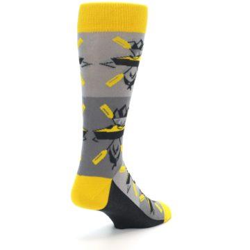 Image of Grey Yellow Kayaking Men's Dress Socks (side-1-back-21)