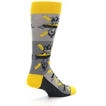 Image of Grey Yellow Kayaking Men's Dress Socks (side-1-back-22)