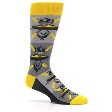Image of Grey Yellow Kayaking Men's Dress Socks (side-1-25)