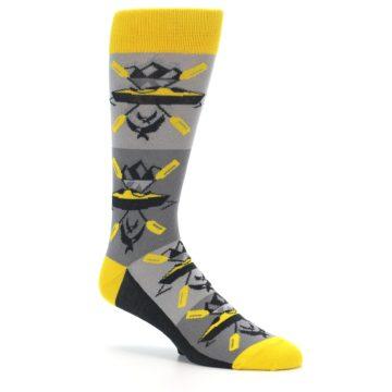 Image of Grey Yellow Kayaking Men's Dress Socks (side-1-26)