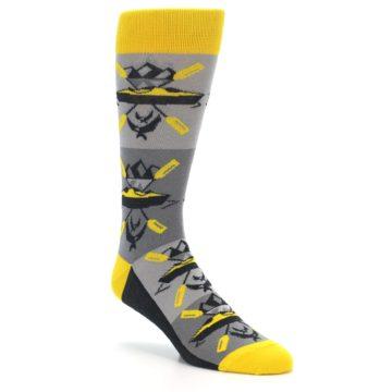 Image of Grey Yellow Kayaking Men's Dress Socks (side-1-27)