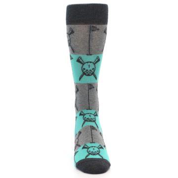 Image of Grey Teal Golf Men's Dress Socks (front-04)