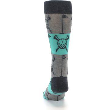 Image of Grey Teal Golf Men's Dress Socks (back-17)
