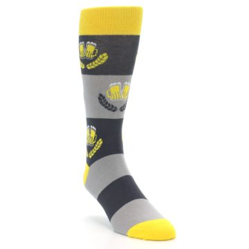 Image of Yellow Grey Beer Mug Men's Dress Socks (side-1-front-02)
