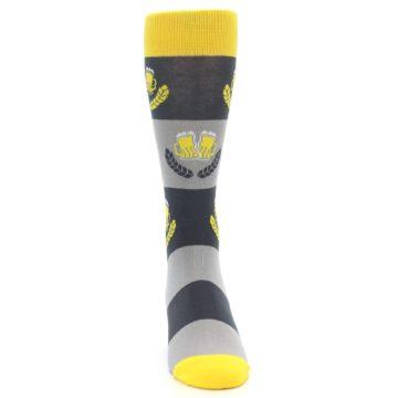 Image of Yellow Grey Beer Mug Men's Dress Socks (front-04)