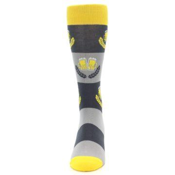 Image of Yellow Grey Beer Mug Men's Dress Socks (front-05)