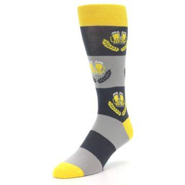 Image of Yellow Grey Beer Mug Men's Dress Socks (side-2-front-08)