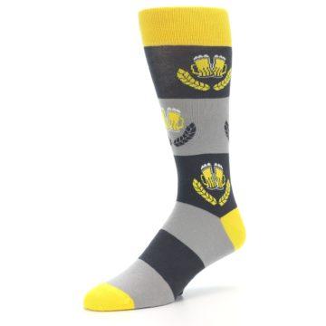 Image of Yellow Grey Beer Mug Men's Dress Socks (side-2-09)
