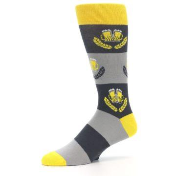Image of Yellow Grey Beer Mug Men's Dress Socks (side-2-10)