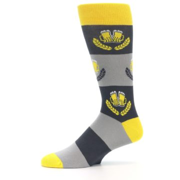 Image of Yellow Grey Beer Mug Men's Dress Socks (side-2-11)