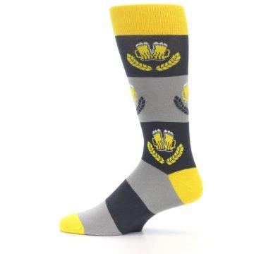 Image of Yellow Grey Beer Mug Men's Dress Socks (side-2-12)