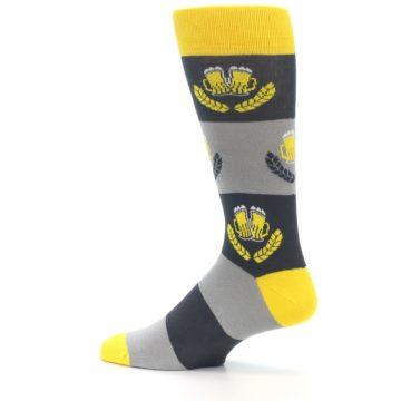 Image of Yellow Grey Beer Mug Men's Dress Socks (side-2-13)