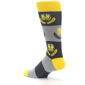 Image of Yellow Grey Beer Mug Men's Dress Socks (side-2-back-14)