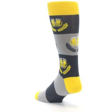Image of Yellow Grey Beer Mug Men's Dress Socks (side-2-back-15)