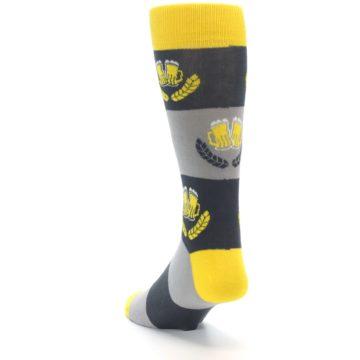 Image of Yellow Grey Beer Mug Men's Dress Socks (side-2-back-16)