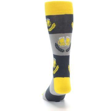 Image of Yellow Grey Beer Mug Men's Dress Socks (back-17)