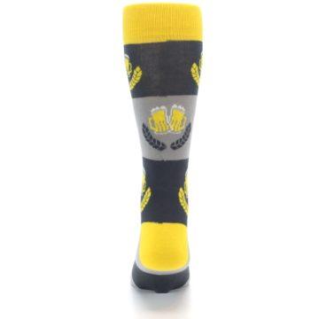 Image of Yellow Grey Beer Mug Men's Dress Socks (back-18)