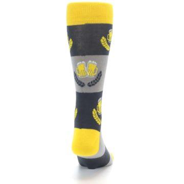 Image of Yellow Grey Beer Mug Men's Dress Socks (back-19)