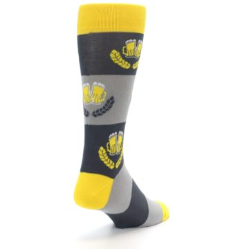 Image of Yellow Grey Beer Mug Men's Dress Socks (side-1-back-21)
