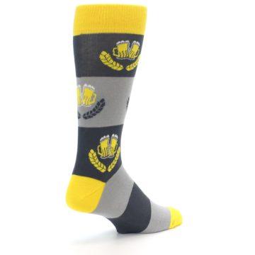 Image of Yellow Grey Beer Mug Men's Dress Socks (side-1-back-22)