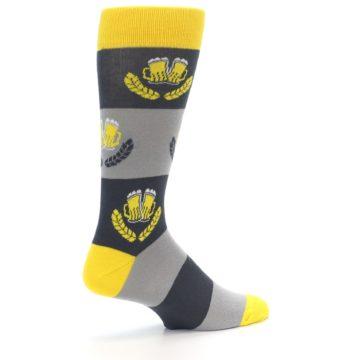 Image of Yellow Grey Beer Mug Men's Dress Socks (side-1-23)