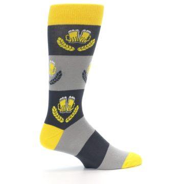 Image of Yellow Grey Beer Mug Men's Dress Socks (side-1-24)