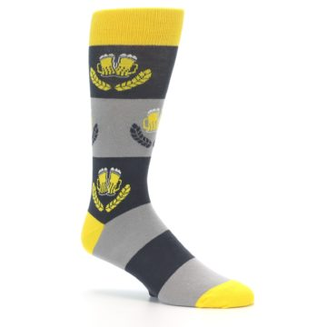Image of Yellow Grey Beer Mug Men's Dress Socks (side-1-26)