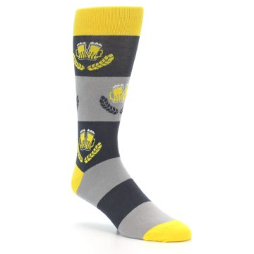Image of Yellow Grey Beer Mug Men's Dress Socks (side-1-27)