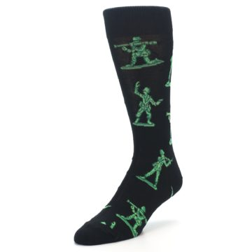 Image of Green Black Toy Army Men Men's Dress Socks (side-2-front-08)