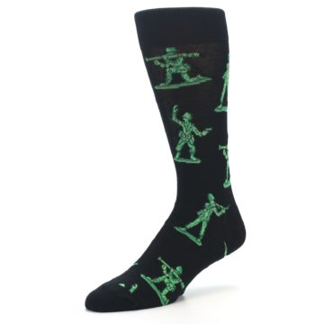 Image of Green Black Toy Army Men Men's Dress Socks (side-2-09)