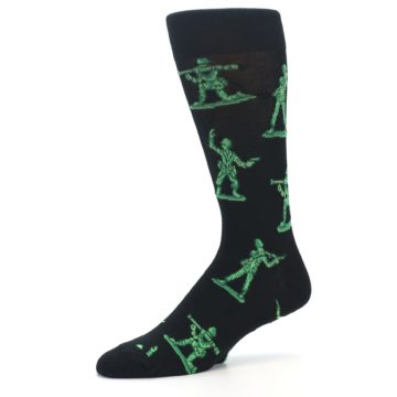 Image of Green Black Toy Army Men Men's Dress Socks (side-2-10)