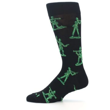 Image of Green Black Toy Army Men Men's Dress Socks (side-2-12)